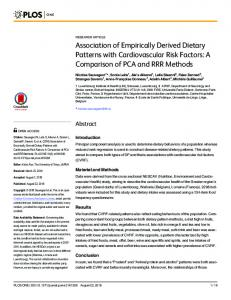 Association of Empirically Derived Dietary Patterns with ... - PLOS