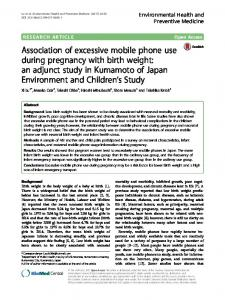 Association of excessive mobile phone use during pregnancy with
