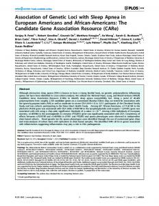 Association of Genetic Loci with Sleep Apnea in ... - Semantic Scholar