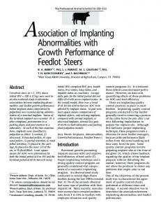 Association of Implanting Abnormalities with Growth Performance of ...