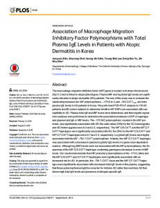 Association of Macrophage Migration Inhibitory Factor Polymorphisms
