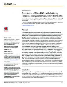 Association of MicroRNAs with Antibody Response ... - Semantic Scholar