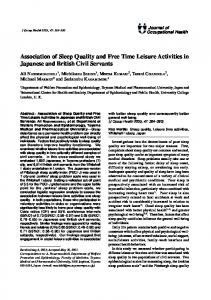 Association of Sleep Quality and Free Time ... - Semantic Scholar