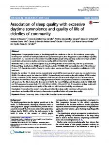 Association of sleep quality with excessive daytime somnolence and ...