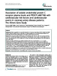 Association of soluble endothelial protein C receptor plasma levels ...