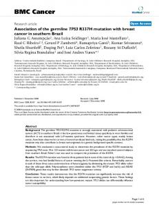 Association of the germline TP53 R337H mutation with breast cancer ...