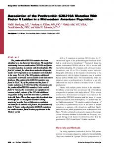 Association of the Prothrombin G20210A Mutation With Factor V ...