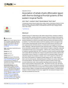 Association of whale sharks (Rhincodon typus) with thermo ... - Plos