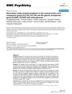 Association study of polymorphisms in the neutral amino acid