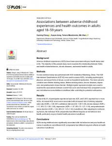 Associations between adverse childhood experiences and ... - PLOS