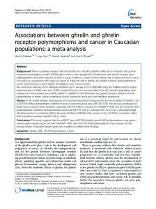 Associations between ghrelin and ghrelin receptor ... - Springer Link