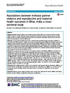 Associations between intimate partner violence and reproductive and ...