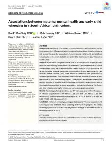 Associations between maternal mental health ... - Wiley Online Library