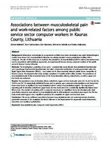 Associations between musculoskeletal pain and work ...