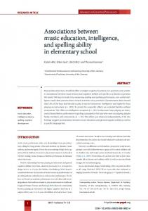 Associations between music education, intelligence, and spelling ...