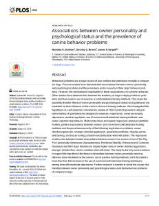 Associations between owner personality and psychological ... - PLOS