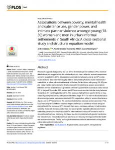 Associations between poverty, mental health and substance use ... - Plos