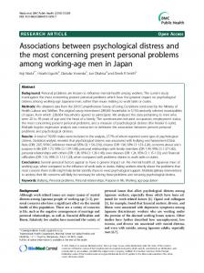Associations between psychological distress and the most concerning ...