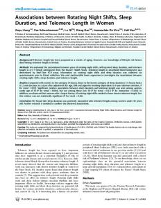 Associations between Rotating Night Shifts, Sleep Duration, and ...