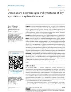 Associations between signs and symptoms of dry eye disease: a ...