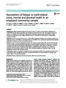 Associations of fatigue to work-related stress, mental ... - BMC Psychiatry