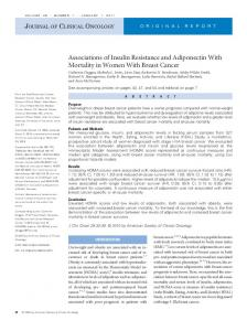 Associations of Insulin Resistance and Adiponectin