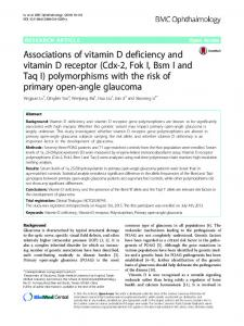 Associations of vitamin D deficiency and vitamin D ... - Springer Link