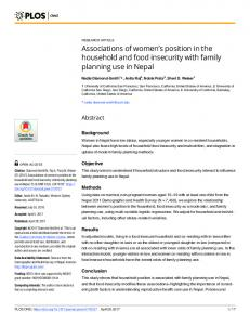 Associations of women's position in the household and food insecurity