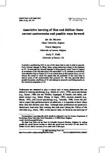 Associative learning of likes and dislikes: Some ... - Semantic Scholar