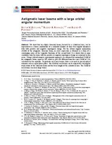 Astigmatic laser beams with a large orbital angular ... - OSA Publishing