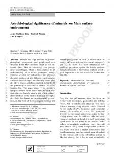 Astrobiological significance of minerals on Mars surface environment