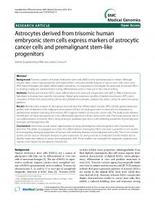 Astrocytes derived from trisomic human embryonic stem cells express ...