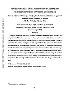 Astrophysical and laboratory plasmas: HF properties under extreme ...