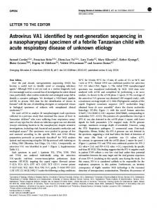 Astrovirus VA1 identified by next-generation sequencing in a ... - Nature