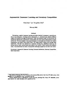 Asymmetric Consumer Learning and Inventory Competition - CiteSeerX