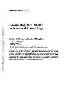 Asymmetric dark matter in braneworld cosmology - CiteSeerX
