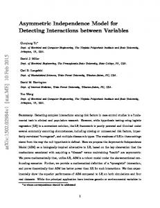 Asymmetric Independence Model for Detecting Interactions ... - arXiv