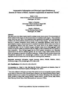 Asymmetric-Information and Principal-Agent Problems ... - SSRN papers