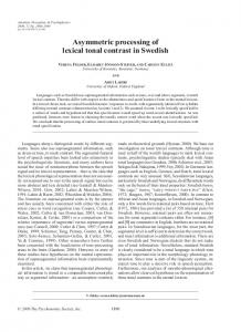 Asymmetric processing of lexical tonal contrast in ... - University of Oxford