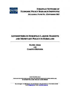 asymmetries in european labour markets and monetary policy in