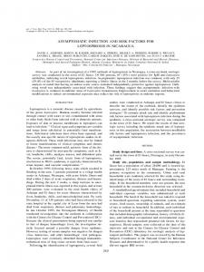 asymptomatic infection and risk factors for leptospirosis in ... - CiteSeerX