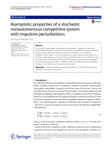 Asymptotic properties of a stochastic nonautonomous competitive ...