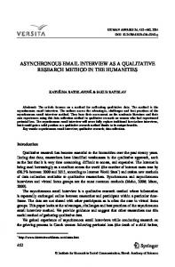 asynchronous email interview as a qualitative research ... - Springer Link