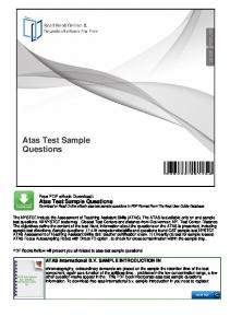 Atas Test Sample Questions - mybooklibrary.Com