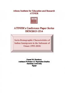 ATINER's Conference Paper Series DEM2015-1514