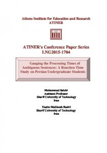 ATINER's Conference Paper Series LNG2015-1704