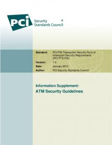 ATM Security Guidelines - PCI Security Standards Council