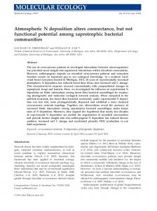Atmospheric N deposition alters connectance, but not ...