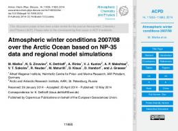 Atmospheric winter conditions 2007/08 - ePIC - AWI