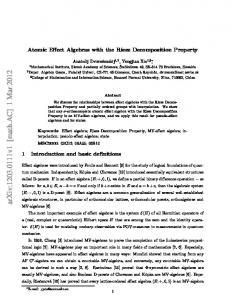 Atomic Effect Algebras with the Riesz Decomposition Property